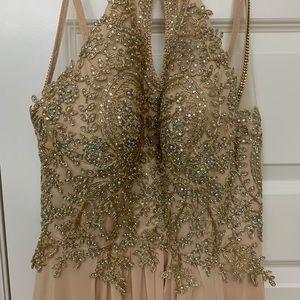 Dresses - Gold/Cream Halter gown